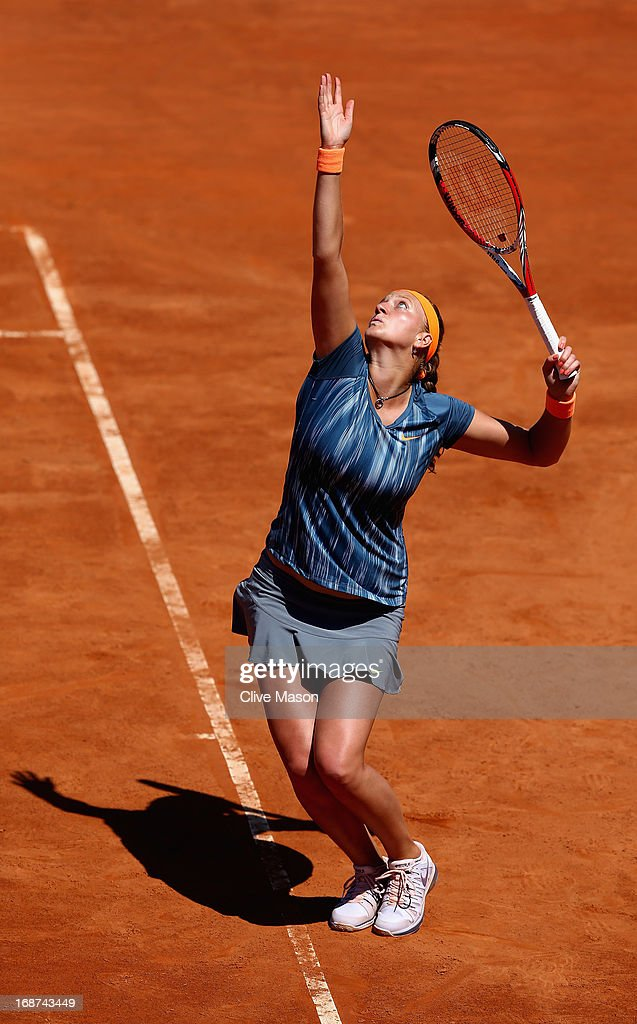 Petra Kvitova of the Czech Republic in action during her first round match against Sabine Lisicki of Germany during day three of the Internazionali BNL d'Italia 2013 at the Foro Italico Tennis Centre on May 14, 2013 in Rome, Italy.