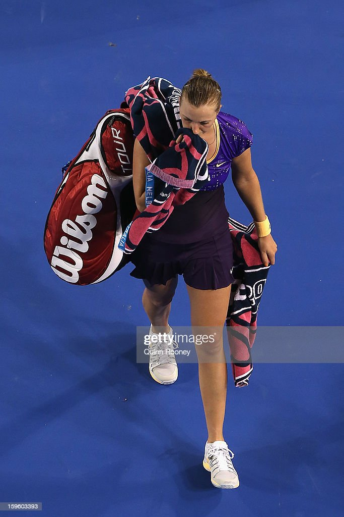 Petra Kvitova of the Czech Republic leaves the court after losing her second round match against Laura Robson of Great Britain during day four of the 2013 Australian Open at Melbourne Park on January 17, 2013 in Melbourne, Australia.