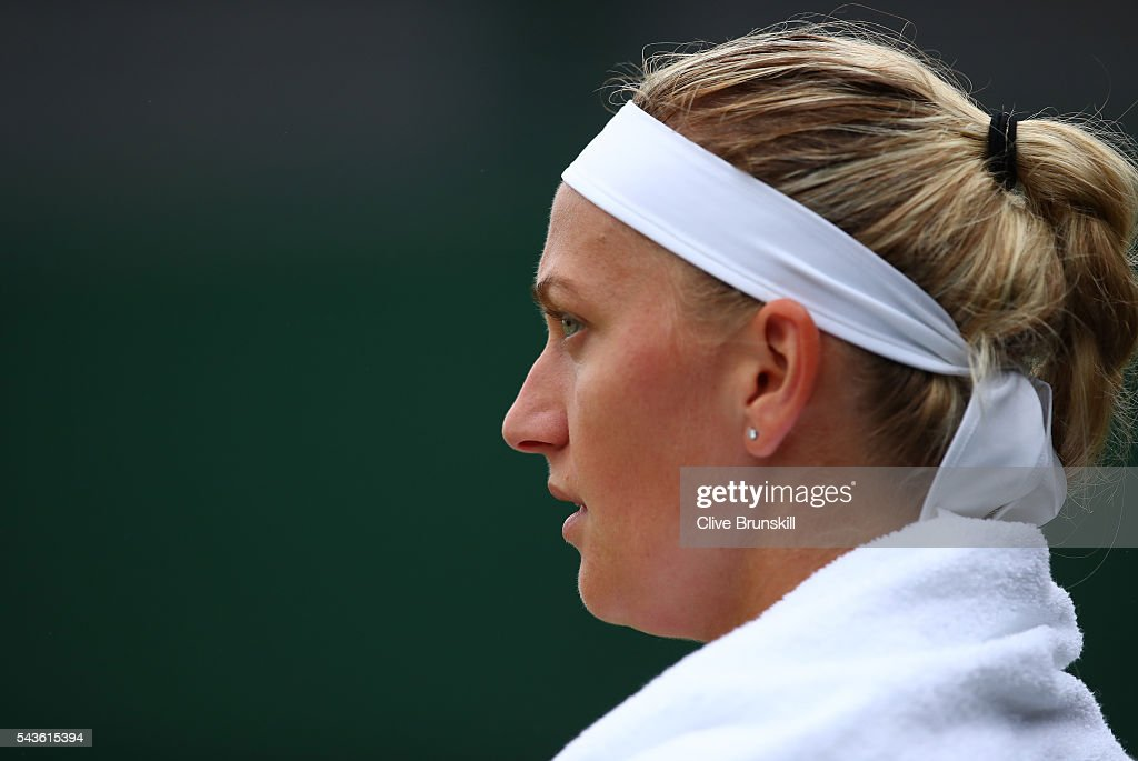 Petra Kvitova of The Czech Republic looks on during the Ladies Singles second round match against Sorana Cirstea of Romania on day three of the Wimbledon Lawn Tennis Championships at the All England Lawn Tennis and Croquet Club on June 29, 2016 in London, England.