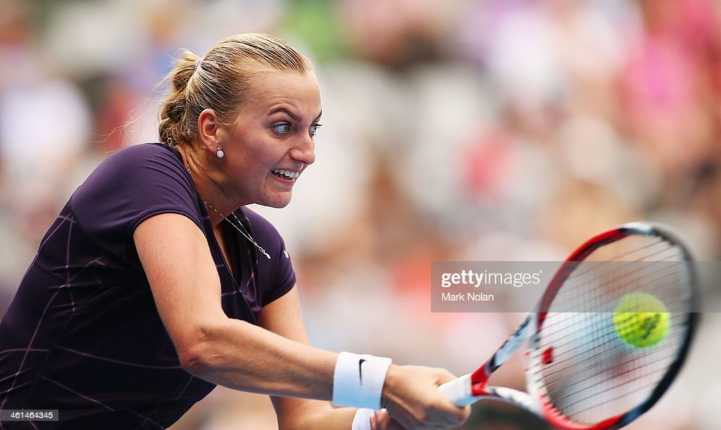 Petra Kvitova of the Czech Republic plays a backhand in her match against Tsvetana Pironkova of Bulgaria during day five of the 2014 Sydney International at Sydney Olympic Park Tennis Centre on January 9, 2014 in Sydney, Australia.