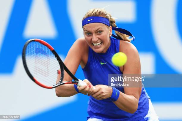 Petra Kvitova of the Czech Republic plays a backhand shot during the Women's Singles fnal match against Ashleigh Barty on day seven of the Aegon...