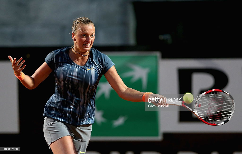 Petra Kvitova of the Czech Republic plays a forehand against Samantha Stosur of Australia in their third round match during day five of the Internazionali BNL d'Italia 2013 at the Foro Italico Tennis Centre on May 16, 2013 in Rome, Italy.