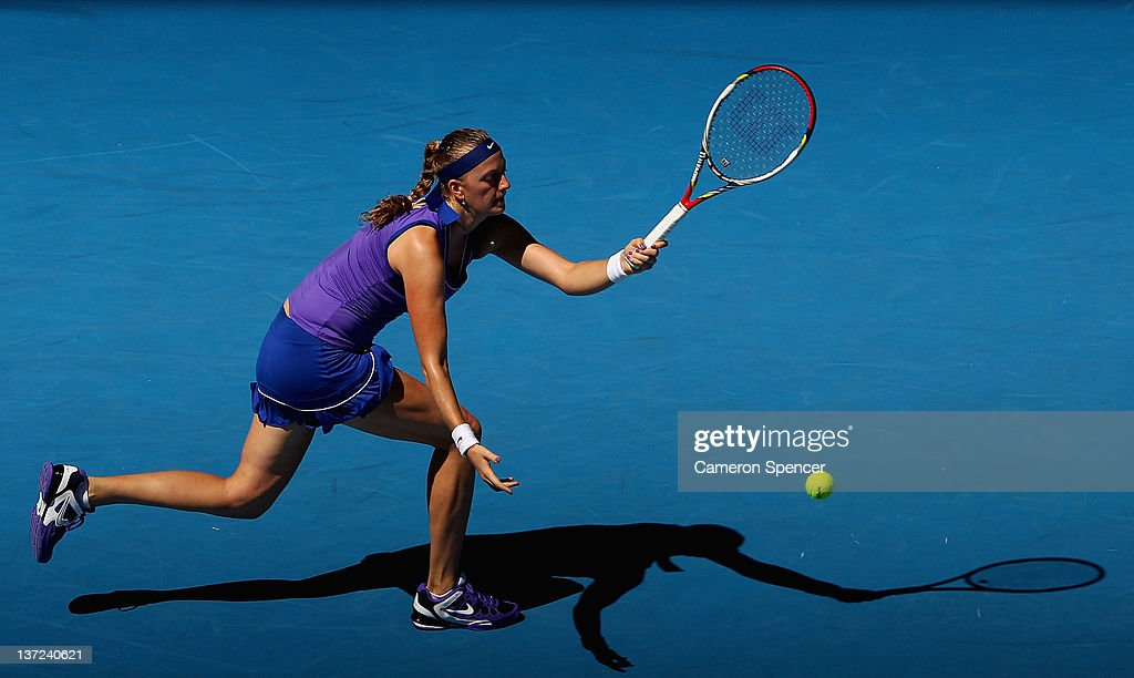 Petra Kvitova of the Czech Republic plays a forehand during her first round match against Vera Dushevina of Russia during day two of the 2012...