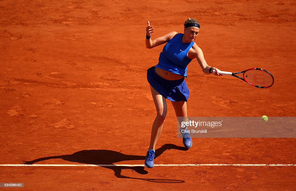 Petra Kvitova of the Czech Republic plays a forehand during the Women's Singles second round match against Su-Wei Hsieh of Taipei at Roland Garros on May 25, 2016 in Paris, France.