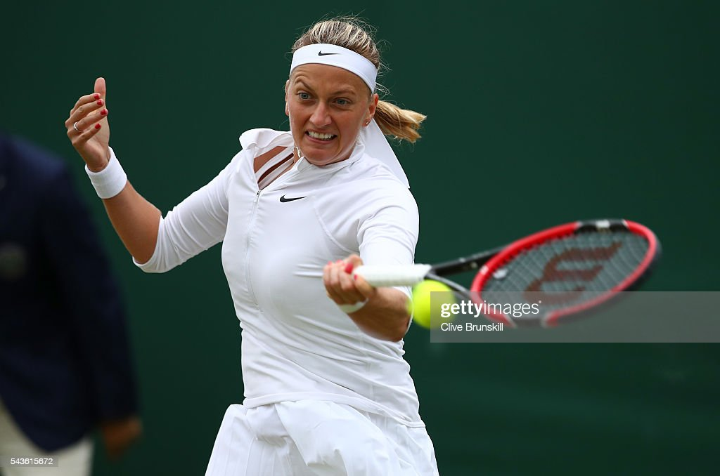 Petra Kvitova of The Czech Republic plays a forehand during the Ladies Singles second round match against Sorana Cirstea of Romania on day three of the Wimbledon Lawn Tennis Championships at the All England Lawn Tennis and Croquet Club on June 29, 2016 in London, England.