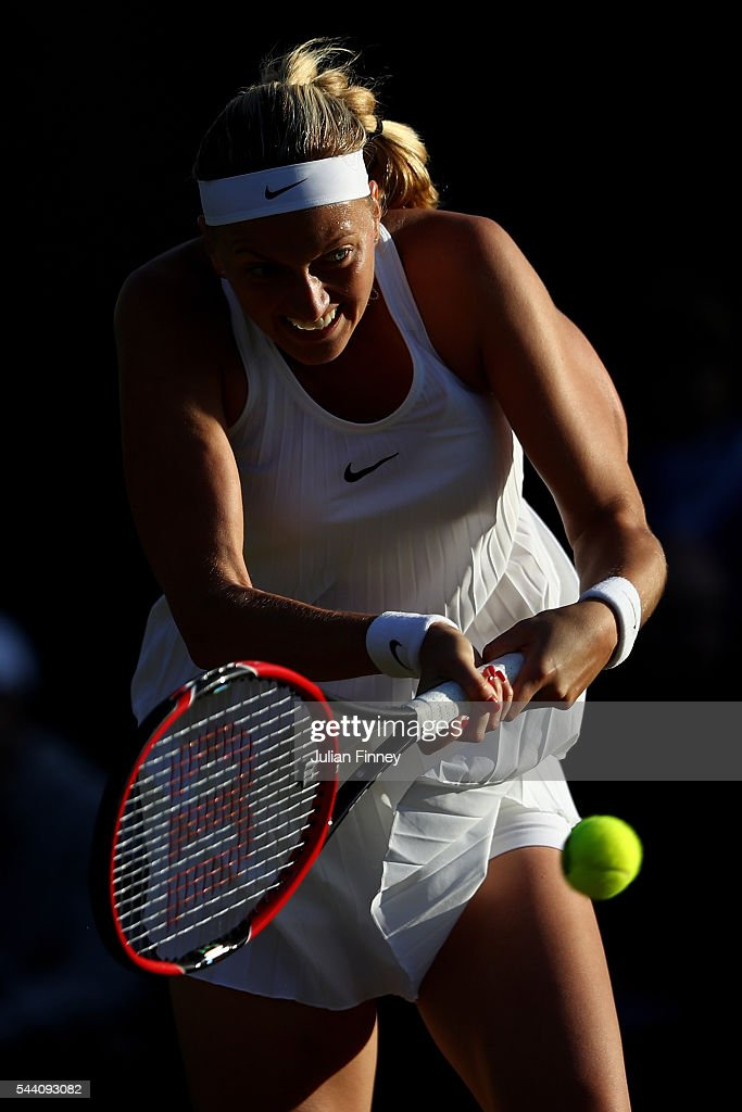 Petra Kvitova of The Czech Republic plays a forehand during the Ladies Singles second round match against Ekaterina Makarova of Russia on day five of the Wimbledon Lawn Tennis Championships at the All England Lawn Tennis and Croquet Club on July 1, 2016 in London, England.