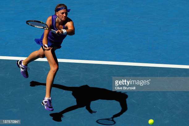 Petra Kvitova of the Czech Republic plays a forehand in her fourth round match against Ana Ivanovic of Serbia during day eight of the 2012 Australian...