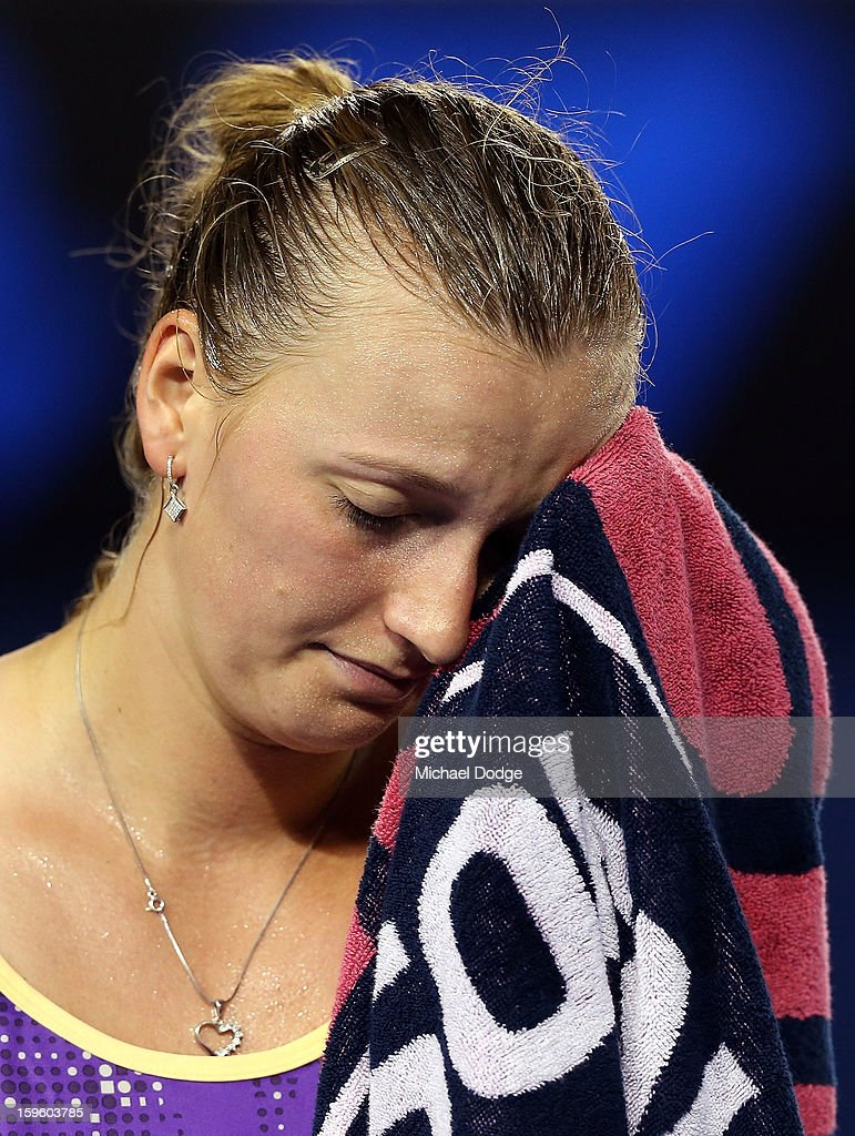 Petra Kvitova of the Czech Republic reacts after losing a game in her second round match against Laura Robson of Great Britain during day four of the 2013 Australian Open at Melbourne Park on January 17, 2013 in Melbourne, Australia.