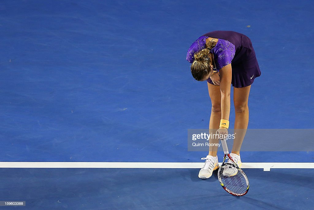 Petra Kvitova of the Czech Republic reacts after losing a point in her second round match against Laura Robson of Great Britain during day four of the 2013 Australian Open at Melbourne Park on January 17, 2013 in Melbourne, Australia.