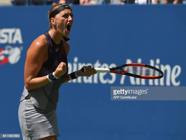Petra Kvitova of the Czech Republic reacts during her match against France's Caroline Garcia in their US Open 2017 3rd Round Women's Singles match at...
