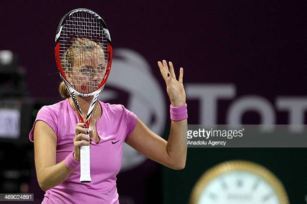 Petra Kvitova of the Czech Republic reacts during the women's singles tennis match against Venus Williams of the United States on the third day of...