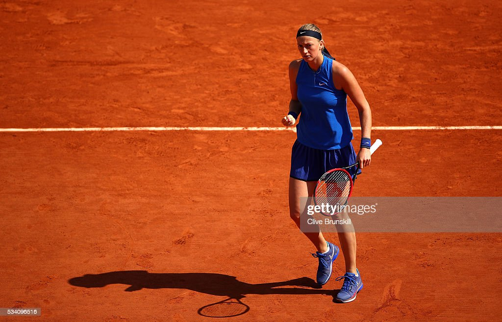 Petra Kvitova of the Czech Republic reacts during the Women's Singles second round match against Su-Wei Hsieh of Taipei at Roland Garros on May 25, 2016 in Paris, France.