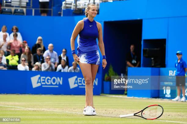 Petra Kvitova of the Czech Republic reacts during the Women's Singles final match against Ashleigh Barty on day seven of the Aegon Classic Birmingham...
