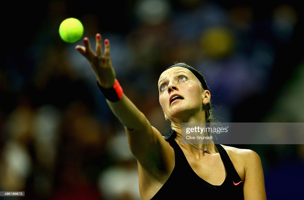 Petra Kvitova of the Czech Republic serves during her first round match against Laura Siegemund of Germany on Day Two of the 2015 US Open at the USTA...