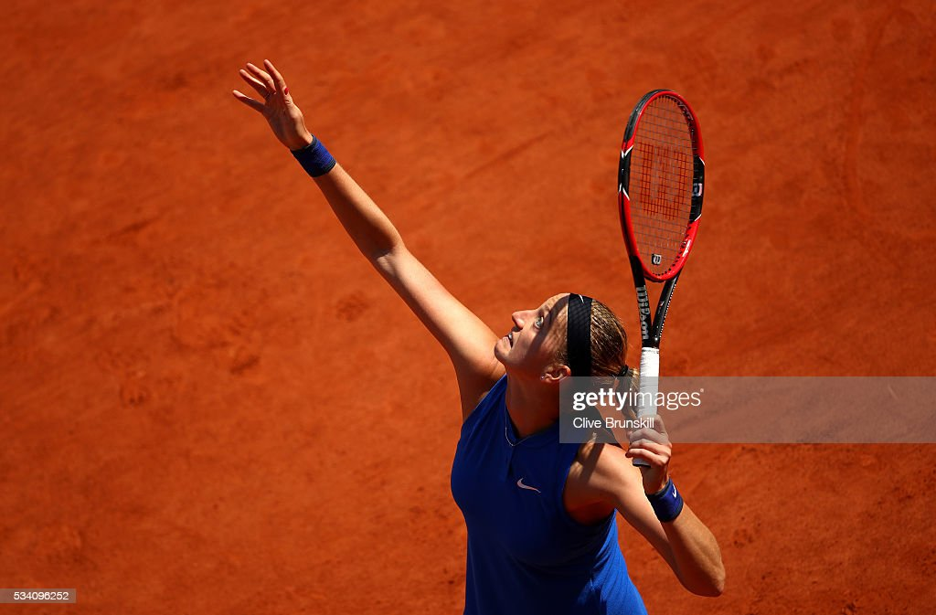 Petra Kvitova of the Czech Republic serves during the Women's Singles second round match against Su-Wei Hsieh of Taipei at Roland Garros on May 25, 2016 in Paris, France.