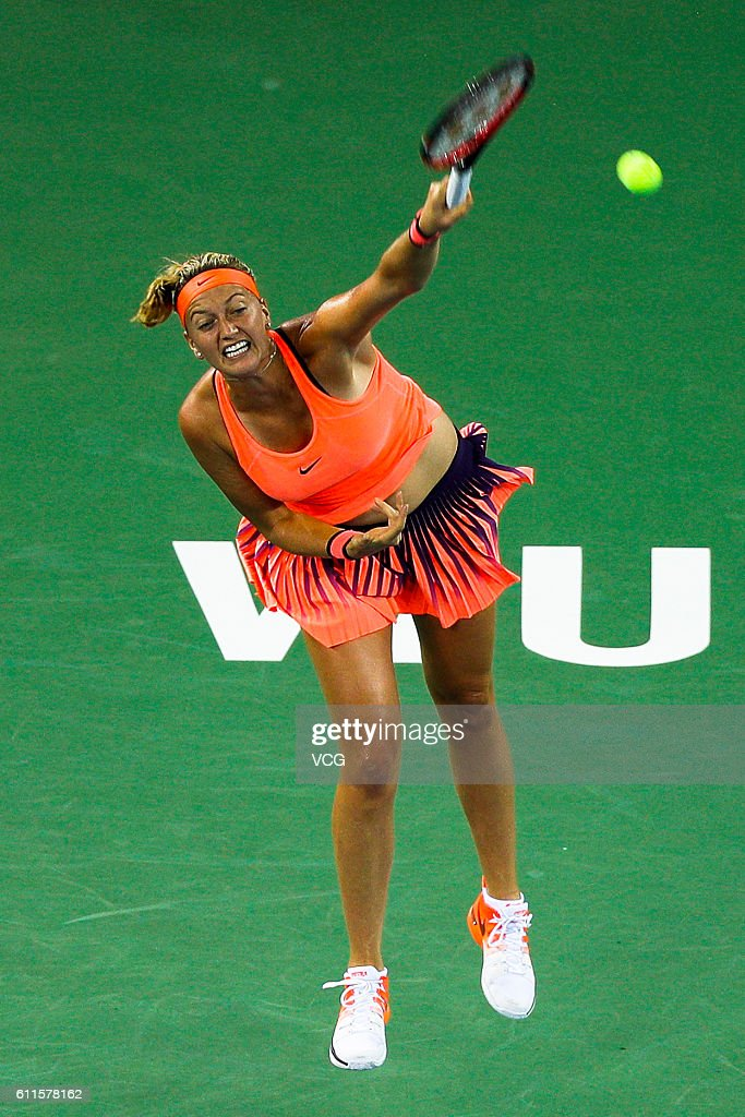 Petra Kvitova of the Czech Republic serves during the women's singles semi-final match against Simona Halep of Romania on day six of the 2016 WTA Dongfeng Motor Wuhan Open at Optics Valley International Tennis Center on September 30, 2016 in Wuhan, China.