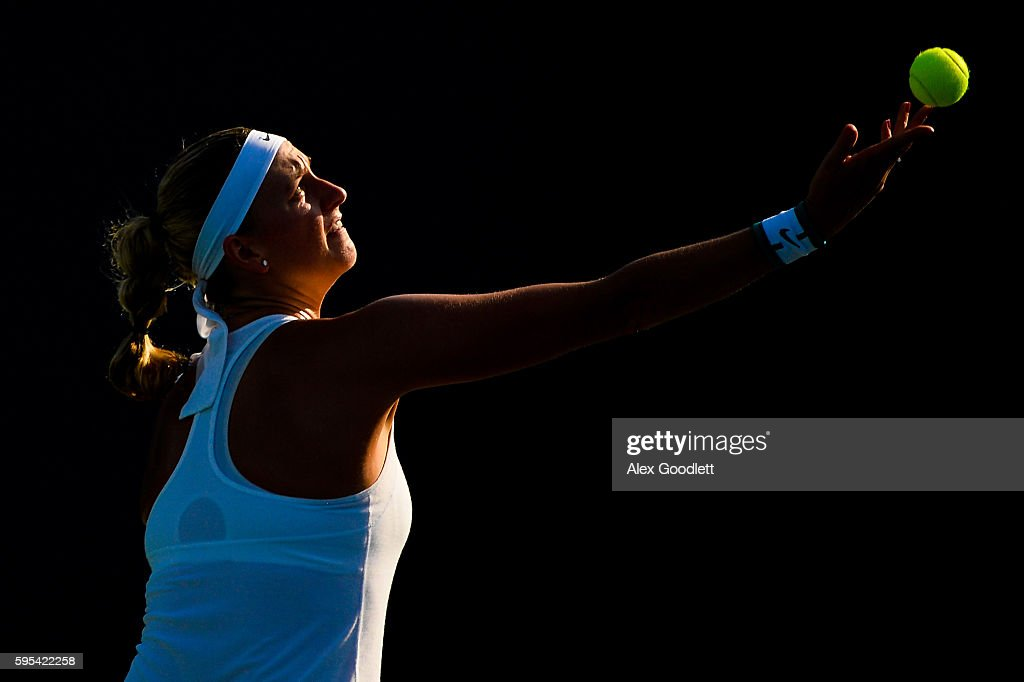 Petra Kvitova of the Czech Republic serves to Ekaterina Makarova of Russia on day 5 of the Connecticut Open at the Connecticut Tennis Center at Yale...