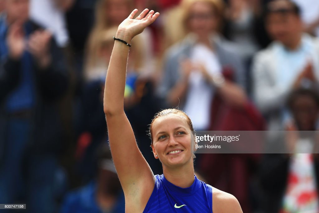 Petra Kvitova of the Czech Republic shows appreciation to the fans after her victory in the Women's Singles final match against Ashleigh Barty on day seven of the Aegon Classic Birmingham at Edgbaston Priory Club on June 25, 2017 in Birmingham, England.