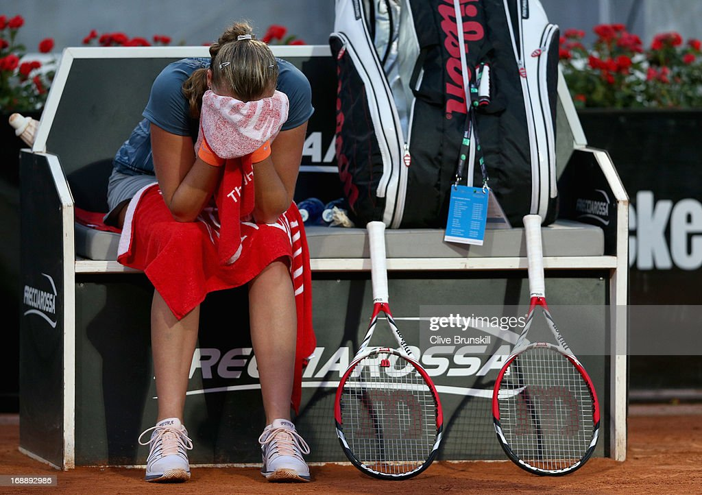 Petra Kvitova of the Czech Republic shows her dejection against Samantha Stosur of Australia in their third round match during day five of the Internazionali BNL d'Italia 2013 at the Foro Italico Tennis Centre on May 16, 2013 in Rome, Italy.