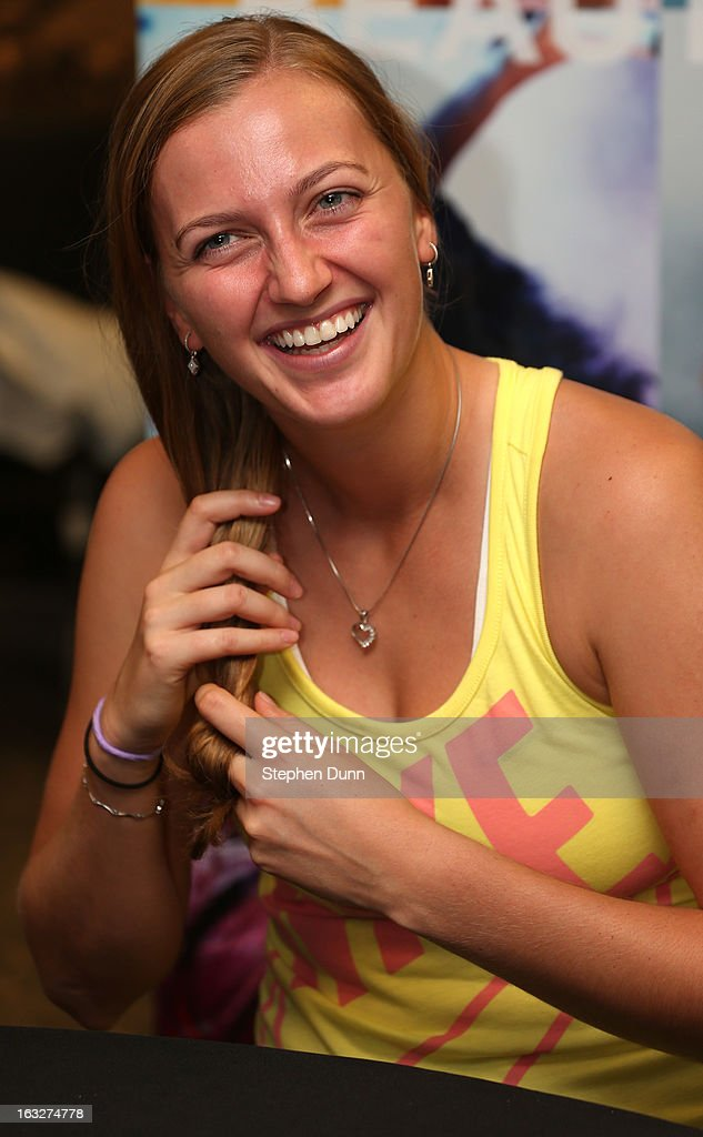 Petra Kvitova of the Czech Republic speaks to the media during All Access Hour during day 1 of the BNP Paribas Open at Indian Wells Tennis Garden on March 6, 2013 in Indian Wells, California.