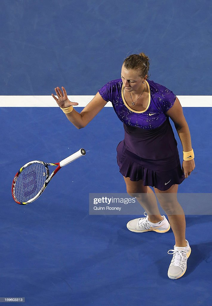 Petra Kvitova of the Czech Republic throws her racquet in her second round match against Laura Robson of Great Britain during day four of the 2013 Australian Open at Melbourne Park on January 17, 2013 in Melbourne, Australia.