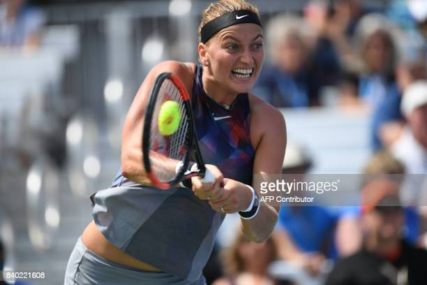 Petra Kvitova returns the ball to Jelena Jankovic during the 2017 US Open Tennis Tournament on August 28 2017 in Flushing Meadows New York / AFP...