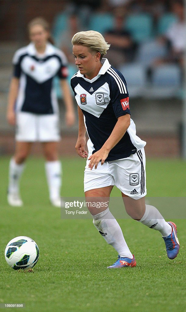 Petra Larsson of the Melbourne Victory controls the ball during the round 12 W-League match between the Newcastle Jets and the Melbourne Victory at Wanderers Oval on January 13, 2013 in Newcastle, Australia.