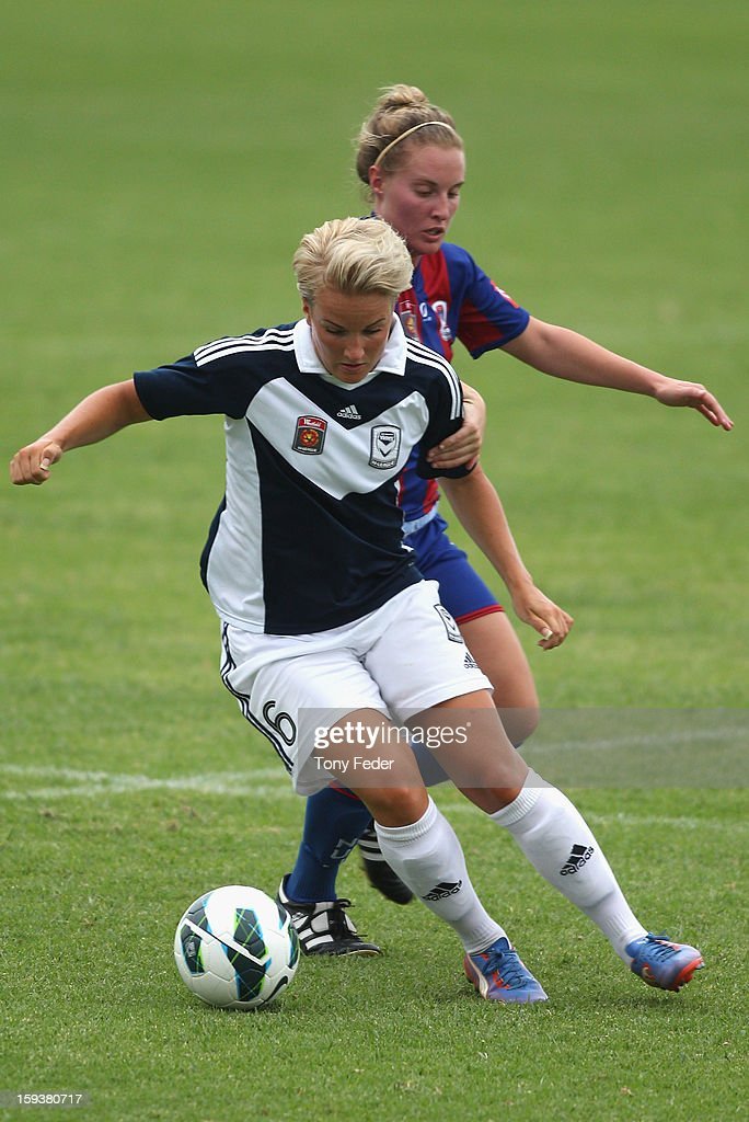 Petra Larsson of the Melbourne Victory controls the ball in front of her Newcastle Jets opponent during the round 12 W-League match between the Newcastle Jets and the Melbourne Victory at Wanderers Oval on January 13, 2013 in Newcastle, Australia.