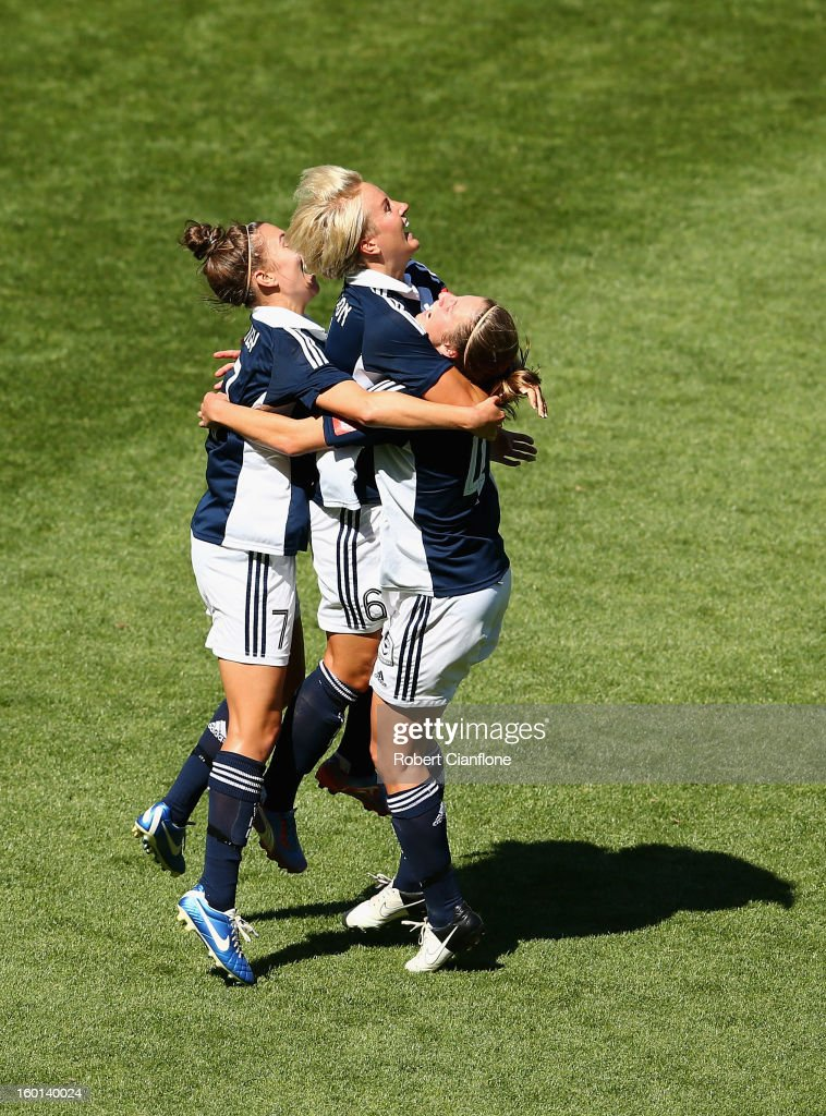 Petra Larsson of the Victory celebrates her goal during the W-League Grand Final between the Melbourne Victory and Sydney FC at AAMI Park on January 27, 2013 in Melbourne, Australia.
