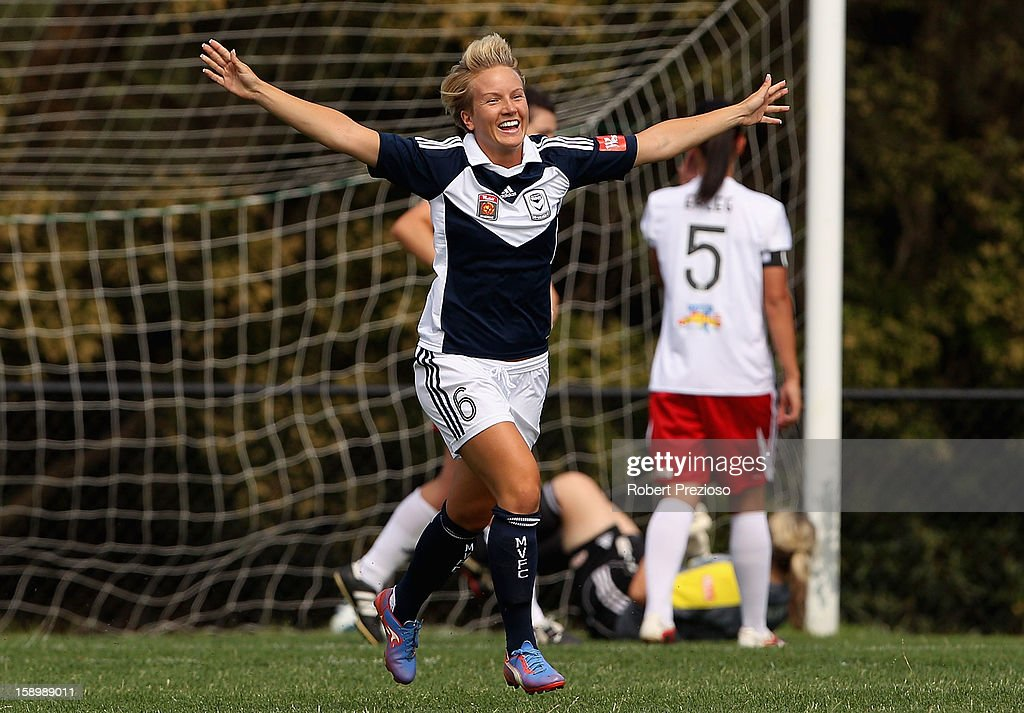 Petra Larsson of the Victory celebrates scoring a goal during the round 11 W-League match between the Melbourne Victory and Adelaide United at Wembley Park on January 5, 2013 in Melbourne, Australia.