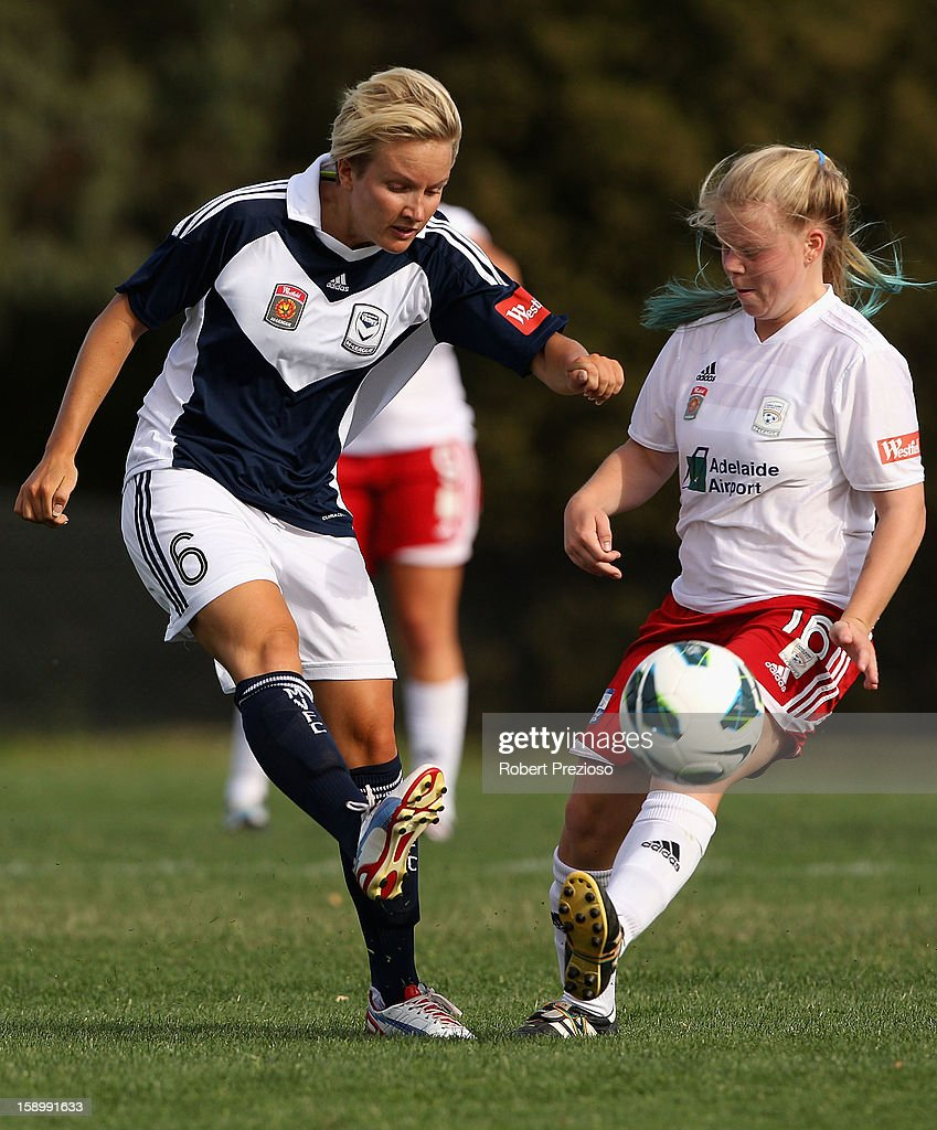 Petra Larsson of the Victory kicks the ball during the round 11 W-League match between the Melbourne Victory and Adelaide United at Wembley Park on January 5, 2013 in Melbourne, Australia.