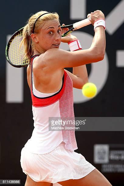 Petra Martic of Craotia returns a shot to Francesca Schiavone of Italy during the Rio Open at Jockey Club Brasileiro on February 20 2016 in Rio de...