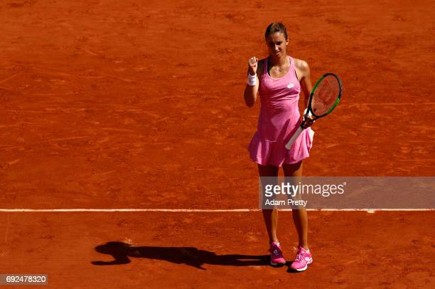 Petra Martic of Croatia celebrates during ladies singles fourth round match against Elina Svitolina of Ukraine on day nine of the 2017 French Open at...