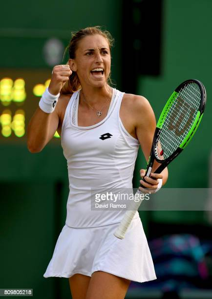 Petra Martic of Croatia celebrates victory after her Ladies Singles second round match against Denise Allertova of the Czech Republic on day four of...