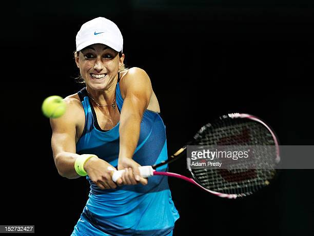 Petra Martic of Croatia hits a backhand during her match against Petra Kvitova of the Czech Republic during day three of the Toray Pan Pacific Open...