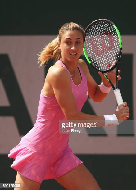 Petra Martic of Croatia in action in her women's singles third round match against Anastasija Sevastova of Latvia during day eight of the French Open...