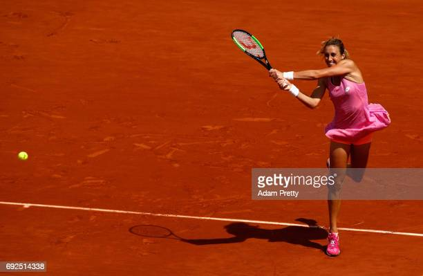 Petra Martic of Croatia plays a backhand during ladies singles fourth round match against Elina Svitolina of Ukraine on day nine of the 2017 French...