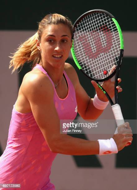 Petra Martic of Croatia plays a backhand during the ladies singles third round match against Anastasija Sevastova of Latvia on day eight of the 2017...