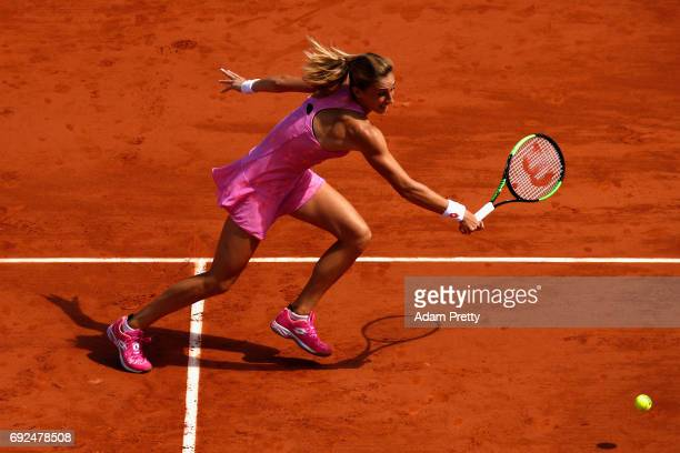 Petra Martic of Croatia plays a backhand during the ladies singles fourth round match against Elina Svitolina of Ukraine on day nine of the 2017...