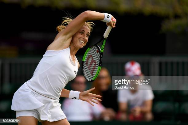 Petra Martic of Croatia plays a forehand during her Ladies Singles second round match against Denise Allertova of the Czech Republic on day four of...