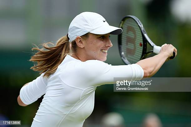 Petra Martic of Croatia plays a forehand during the Ladies' Singles second round match against Karolina Pliskova of Czech Republic on day four of the...