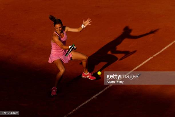 Petra Martic of Croatia plays a forehand during the ladies singles second round match against Madison Keys of the United States on day five of the...