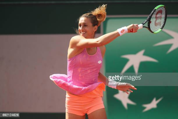 Petra Martic of Croatia plays a forehand in her women's singles third round match against Anastasija Sevastova of Latvia during day eight of the...