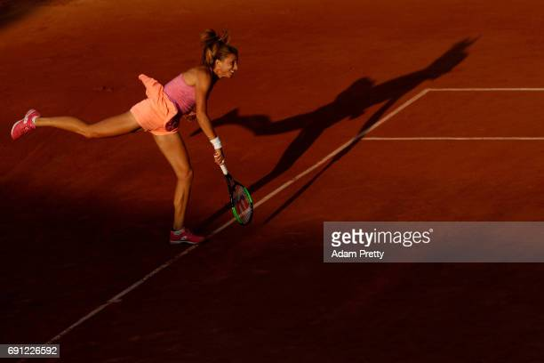 Petra Martic of Croatia serves during the ladies singles second round match against Madison Keys of the United States on day five of the 2017 French...