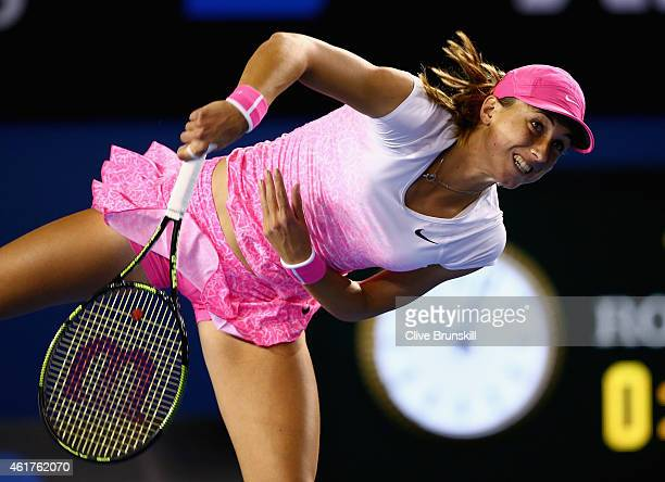 Petra Martic of Croatia serves in her first round match against Maria Sharapova of Russia during day one of the 2015 Australian Open at Melbourne...