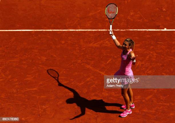 Petra Martic of Croatia shows her fustration during ladies singles fourth round match against Elina Svitolina of Ukraine on day nine of the 2017...