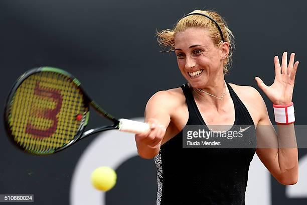 Petra Martic to Croatia returns a shot to Teliana Pereira to Brazil during the Rio Open at Jockey Club Brasileiro on February 15 2016 in Rio de...