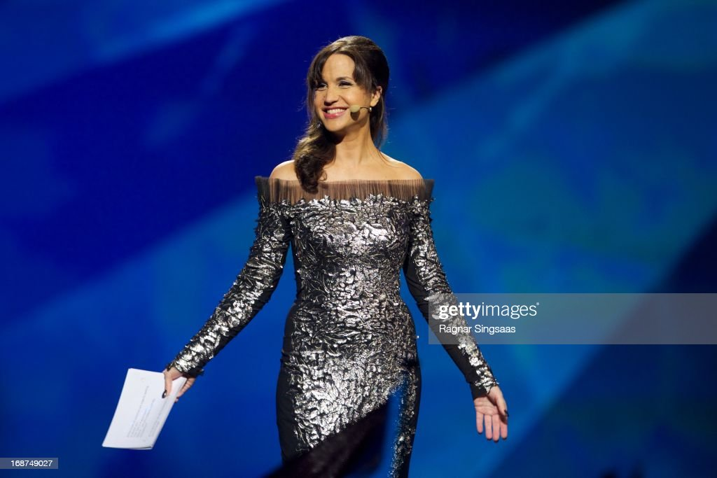 Petra Mede leads the first semi final of the Eurovision Song Contest 2013 at Malmo Arena on May 14, 2013 in Malmo, Sweden.