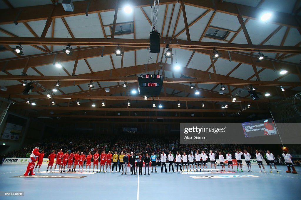 Petra Methe, widow of former referee Bernd Methe, who had died with his twin brother in a car accident, delivers a speech prior to a benefit match between the German national handball team and MT Melsungen at Rothenbach-Halle on March 5, 2013 in Kassel, Germany.