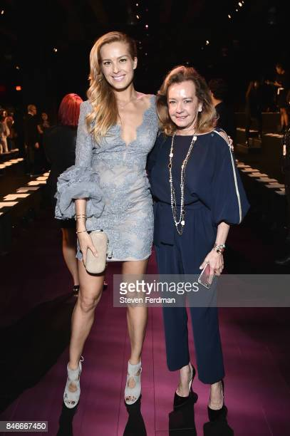 Petra Nemcova and Caroline Scheufele attend the Marchesa fashion show during New York Fashion Week at Gallery 1 Skylight Clarkson Sq on September 13...